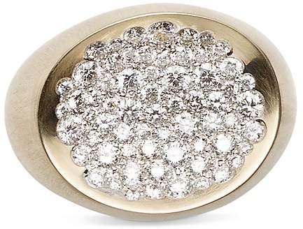 Antonini Matte 18K White Gold Matera Large Pavé Silvermist Diamond Ring