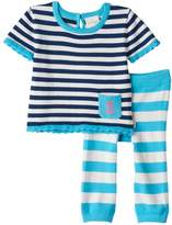 Cuddl Duds Baby Girl Striped Nautical Knit Top & Pants Set