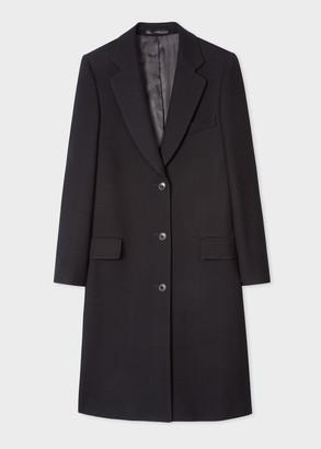 Women's Black Wool Epsom Coat With Burgundy Lining