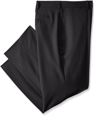 Louis Raphael Men's Big-Tall Rosso Flat Front Easy Care Patterned Dress Pant with Hidden Flex Waistband