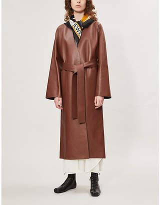 Loewe V-neck collar-less leather coat