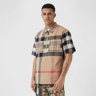 Burberry Short-sleeve Panelled Check Stretch Cotton Shirt