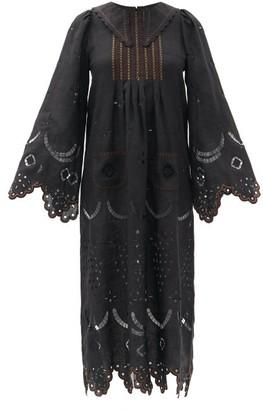 Vita Kin Victoire Embroidered Linen Midi Dress - Black