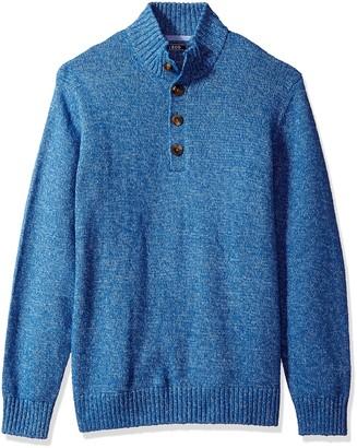 Izod Men's Durham Buttoned Mock Neck Marled 7 Gauge Sweater