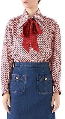 Gucci Women's Mini Stirrup Silk Twill Tieneck Blouse