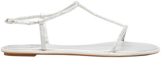 Rene Caovilla Shimmery T-Strap Flat Sandals