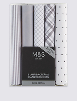 M&S Collection 5 Pack Pure Cotton Handkerchiefs with Sanitized Finish®