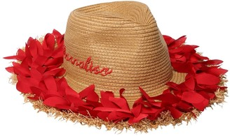MonnaLisa Wide Brim Straw Hat W/ Appliques