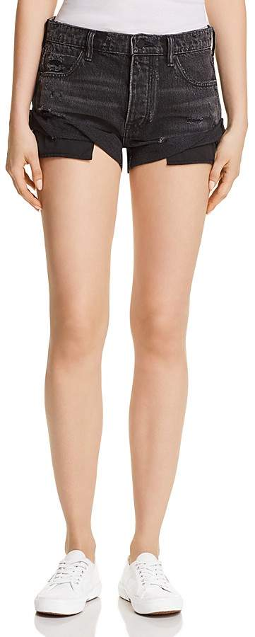 Alexander Wang Hike Rolled Denim Shorts in Gray Aged