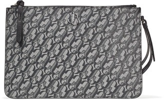 Jimmy Choo FARA Metallic-Silver and Black Glittered Leather Wristlet Pouch with JC logo