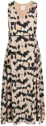 Alysi Floral-Print Pleated Dress