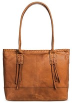 Børn Leather Women's Tote Handbag Back/Interior Compartments and Zipper Closure - Saddle