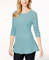 Charter Club Cashmere Mixed-Knit Peplum Sweater, Only at Macy's