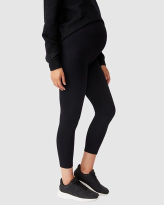 Cotton On Body Active - Women's Black Maternity Tights - Maternity Seamless Rib 7-8 Tights - Size XS/S at The Iconic