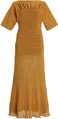 Proenza Schouler Women's Smocked Knit Midi Dress - Yellow - Moda Operandi