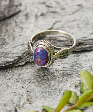Ys Gems YS Gems Women's Rings Purple - Purple Copper Turquoise & Sterling Silver Leaf Ring