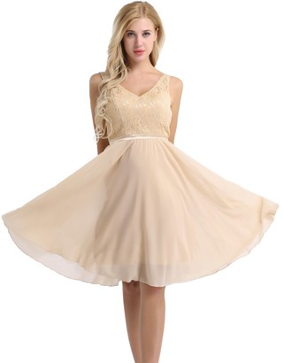 Freebily Women Floral Lace Bridesmaid Party Dress Short Prom Dress V Neck Champagne 16