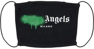Palm Angels Milano Spray Logo Print Cotton Face Mask