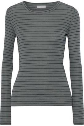Vince Striped Pima Cotton-jersey Top