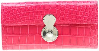 Ralph Lauren Pink Crocodile Ricky Continental Wallet
