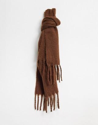 Monki Elsa recycled polyester scarf in dark brown