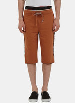 Telfar Men's Raw Layered Stripe Shorts In Brown