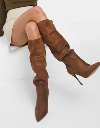 Steve Madden Dakota slouchy stiletto heeled boots in tan