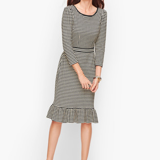Talbots Flounce Hem Ponte Shift Dress - Dot Stripe