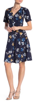 London Times Floral V-Neck Fit & Flare Dress