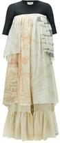 Marine Serre Upcycled Silk-chiffon Maxi Dress - Womens - White Multi