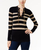 MICHAEL Michael Kors Striped Lace-Up Chain Sweater