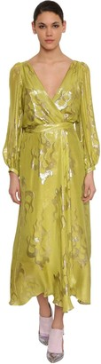 Temperley London Silk Blend Wrap Midi Dress
