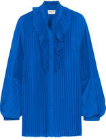 Balenciaga Pleated Georgette Blouse - Bright blue