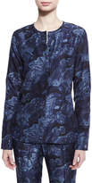 Elizabeth and James Davidson Long-Sleeve Floral Silk Blouse, Royal/Black