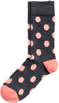 H&M Dotted Socks - Dark blue/pink - Men