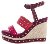 Lanvin Suede Studded Wedge Sandals