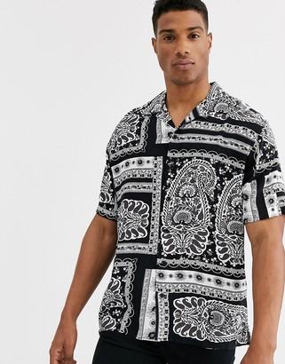 Jack and Jones Originals revere collar paisley printed short sleeve shirt in black