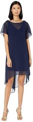 Adrianna Papell Chiffon Overlay Sheath Dress (Navy) Women's Dress