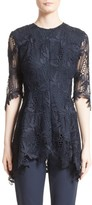 Lela Rose Women's Elbow Sleeve Lace Top
