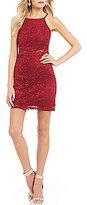 I.N. San Francisco High Neck Glitter Lace Sheath Dress