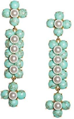 Lele Sadoughi Cactus 14K Gold-Plated, Stone & Acrylic Pearl Drop Earrings