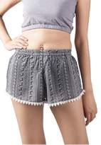 Lofbaz Women's Printed Lace Summer Shorts Black L