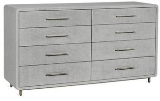 Interlude Alma 8 Drawer Double Dresser Color: Light Gray/Champagne Silver