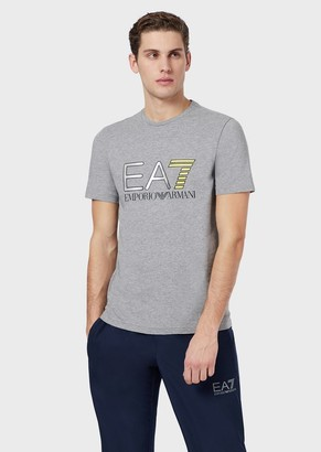 Ea7 Jersey T-Shirt With Logo Print