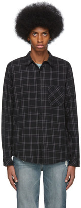 Frame Black and Grey Plaid Brushed Shirt