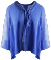 Elie Tahari Womens Emmy Silk Chain Button-Down Top Blue S