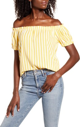 Vero Moda Helen Milo Stripe Off the Shoulder Linen Blend Top