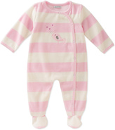 Absorba Pink & White Stripe Bird Footie - Infant
