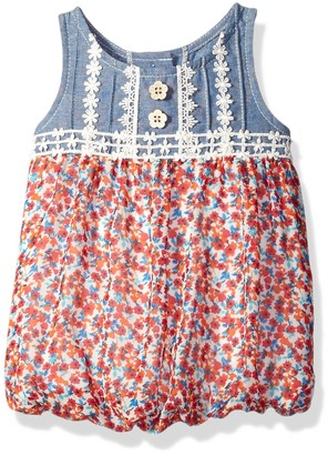 Rare Editions Little Girls Chambray Floral Print Romper Newborn Sizes