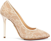 Charlotte Olympia Monroe satin-trimmed corded lace and leather pumps